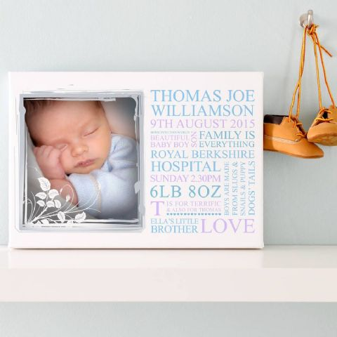 Personalised Baby Birth Announcement Photo Art